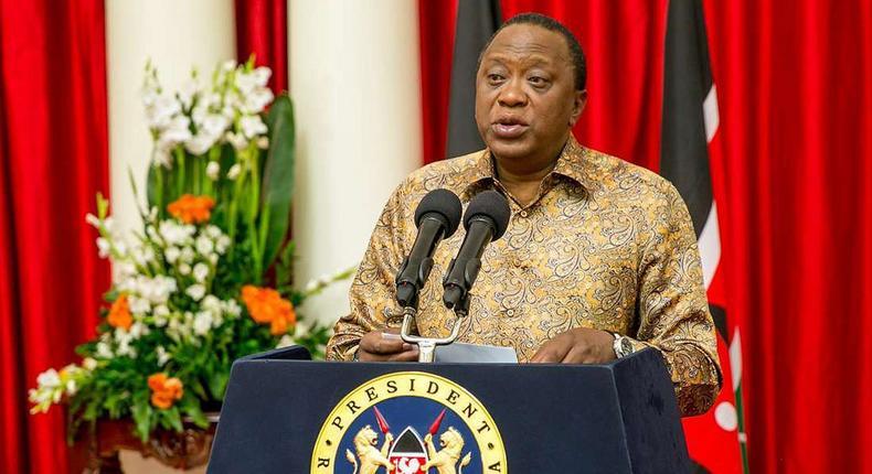President Uhuru Kenyatta during a past address at State House