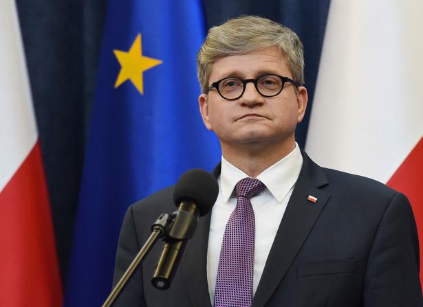 Szef Biura Bezpieczeństwa Narodowego Paweł Soloch podczas konferencji prasowej w Pałacu Prezydenckim.
