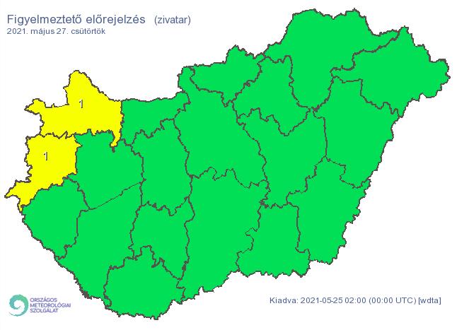 Csütörtökre csak két megyére van érvényben elsőfokú riasztás a zivatar miatt / Fotó: met.hu