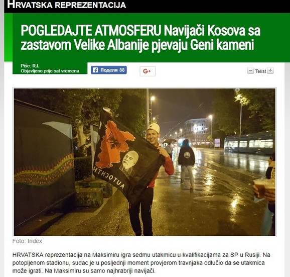 Detalj iz izveštaja hrvatskog portala Index.hr pred utakmicu u Zagrebu