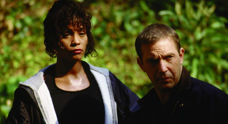 Whitney Houston and Kevin Costner in 'The Bodyguard' [IMDb]