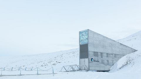 Wejście do Globalnego Banku Nasion - niedaleko powstał Arctic World Vault