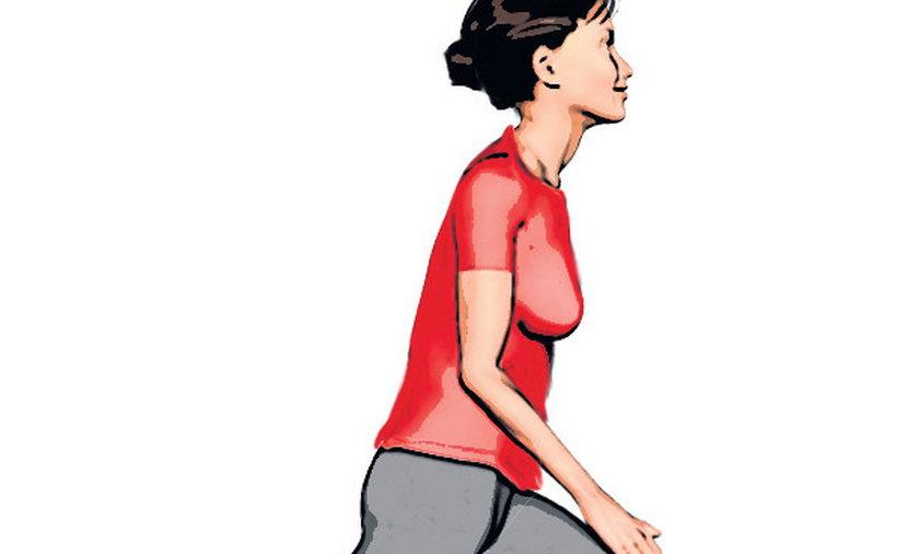 Ćwiczenia równoważne: Wykrok do przodu; noga, którą wysuwamy jest lekko ugięta, druga - wyprostowana