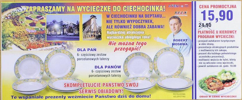 Robert Moskwa reklamuje wycieczki