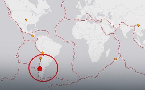 Crvenim krugom je označeno mesto epicentra zemljotresa