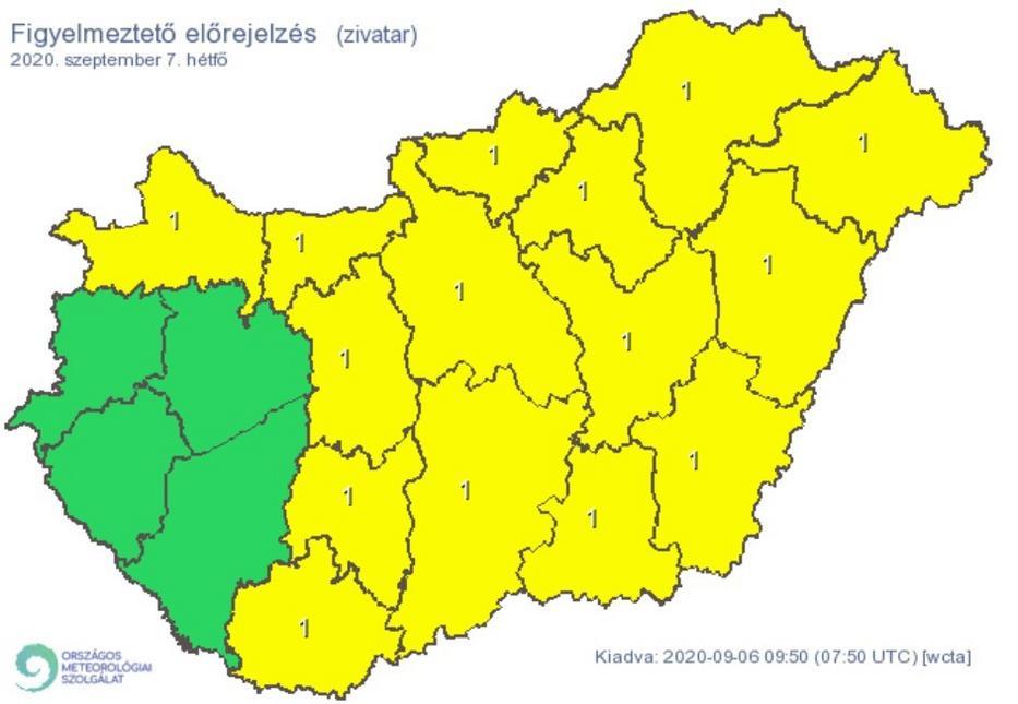 Riasztási térkép hétfőre / Fotó: OMSZ