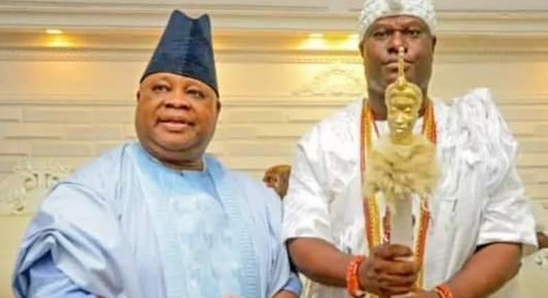 Senator Ademola Adeleke and Ooni of Ife, Oba Adeyeye Ogunwusi, Ojaja II. (9news)