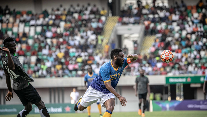 Austin Jay-Jay Okocha was the centre of attraction in an exhibition game played Iin Uyo on Tuesday  (BHM)