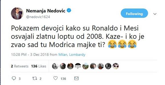 Tvit Nemanje Nedovića o pitanju njegove devojke o Modriću