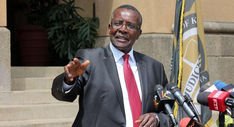 Chief justice David Maraga during a past press address from the Supreme Court buildings