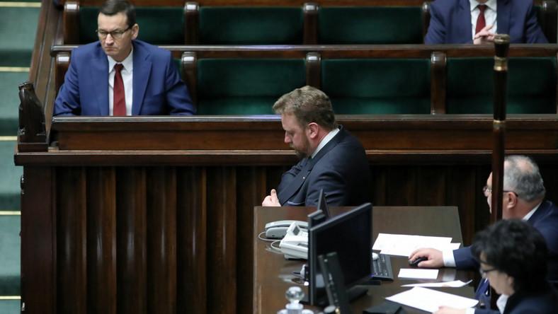 Mateusz Morawiecki i Łukasz Szumowski w Sejmie