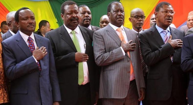 Opposition leaders Kalonzo Musyoka, Musalia Mudavadi, Raila Odinga and Moses Wetang'ula.