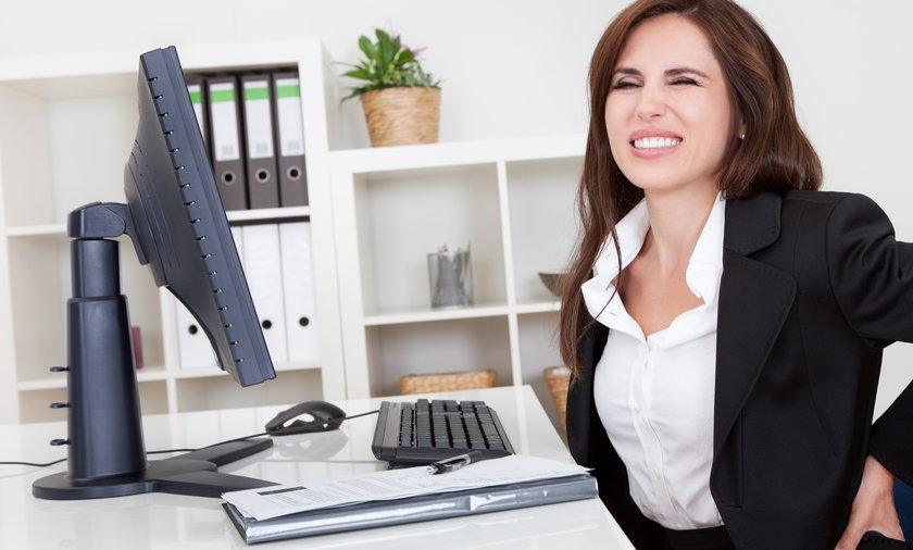 kobieta, praca, ból, komputer, plecy