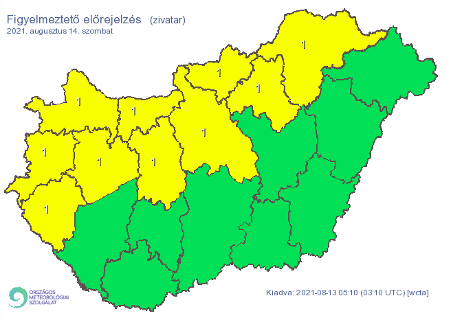 A fél országra riasztást adtak ki a zivatarok miatt szombatra / Fotó: met.hu