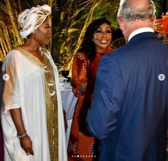 Mo Abudu, Rita Dominic and Prince Charles at a reception held on his honour