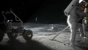 An artist's concept of NASA astronauts returning to the surface of the moon via its Artemis program.