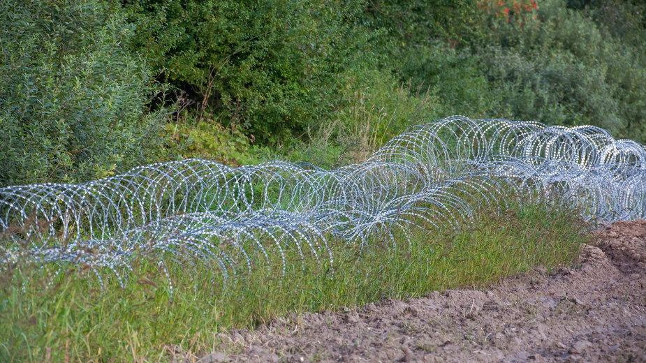 Ogrodzenie z drutu kolczastego na polsko-białoruskiej granicy