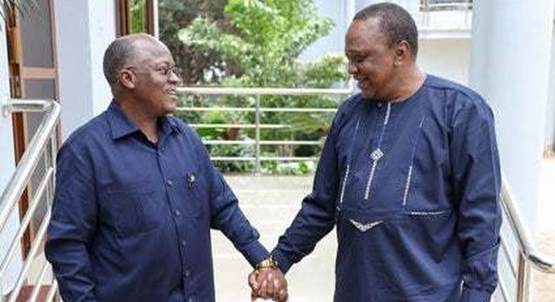 File image of President Uhuru Kenyatta with his late Tanzanian counterpart John Pombe Magufuli