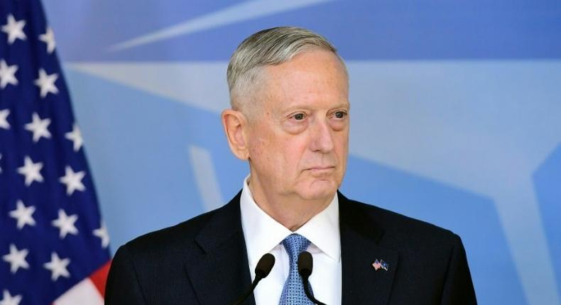 US Defence Minister James Mattis addresses the press at the NATO headquarters in Brussels on February 15, 2017