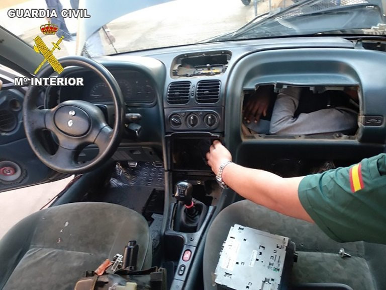 Two people were found inside the dashboard Picture by Guardia Civil