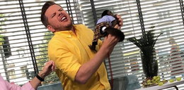 Chajzer ugryziony przez małpę na wizji! Kinga Rusin oburzona