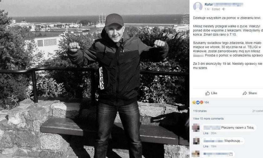 Nie żyje 18-letni Miłosz skatowany maczetami w Krakowie. Wzruszający apel ojca