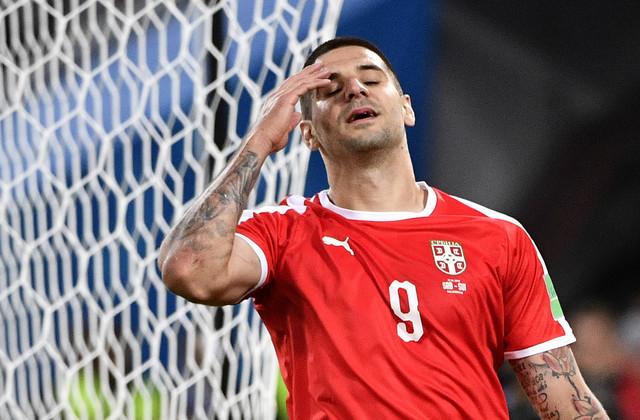 Aleksandar Mitrović tokom meča sa Švajcarcima