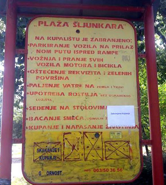 Šljunkara - Zabranjeno kupanje