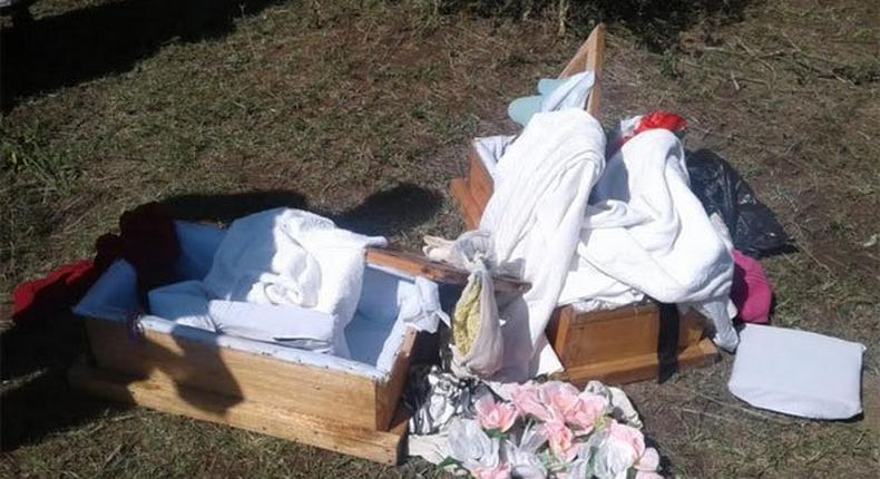 Coffins Homa Bay couple used to bury dolls claiming that their twins had died (Nation)