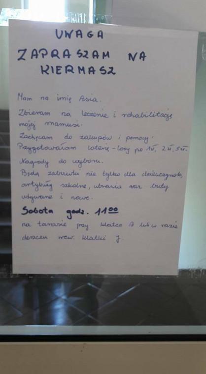 Ogłoszenie rozwieszone w Poznaniu na os. Batorego przez 9-letnią Asię
