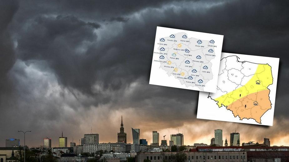 Prognoza pogody dla Polski. W czwartek nadal burzowo, miejscami możliwy grad
