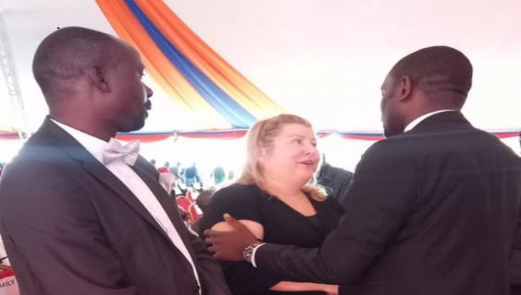 Ken Okoth's widow, Monica (centre) at the memorial service of husband at Moi Girls High School