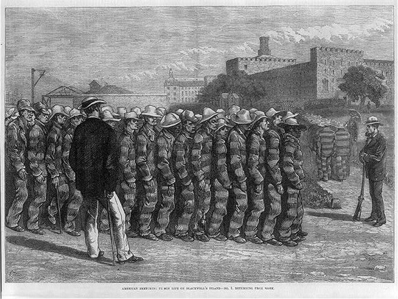 Robijaši se posle rada vraćaju na Blekvelovo ostrvo, 1876. (FOTO: Library of Congress)