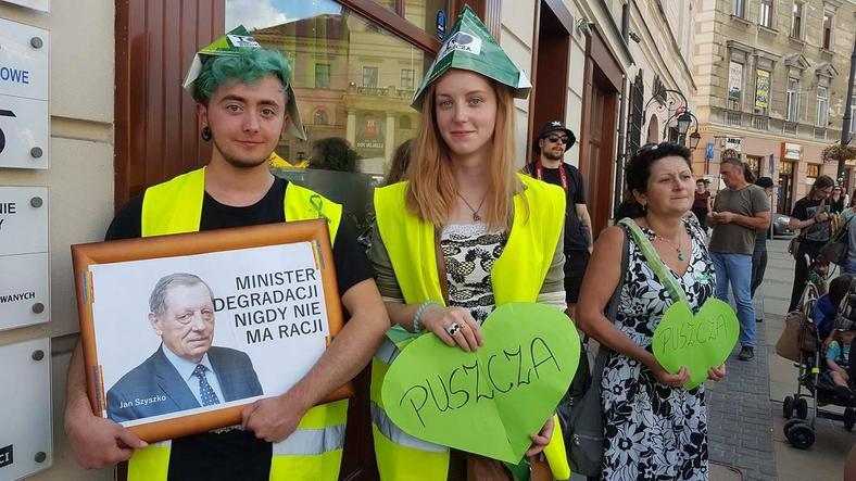 Protest przeciwko wycince Puszczy