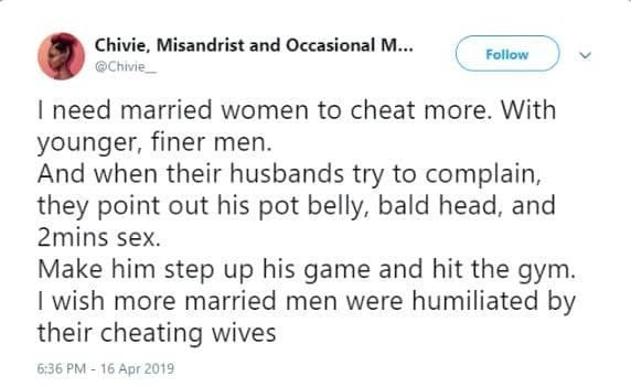 "Cheat on him, if he complains, ""point out his pot belly, bald head and 2 mins sex"" – Feminist urges women"