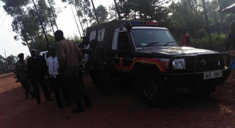 File image of police at a crime scene. Police in Kakamega have dismantled a human trafficking syndicate and rescued 38 women destined for Middle East