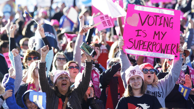 women's march midterms equal pay equality voting rally protest