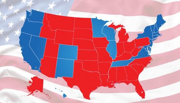 Plava boja pokazuje sigurne, vrlo verovatne i moguće glasove za demokrate, crvena za republikance