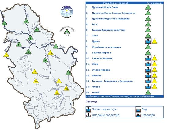 Žuti hidroalarm za utorak upućuje na značajno povećanje vodostaja