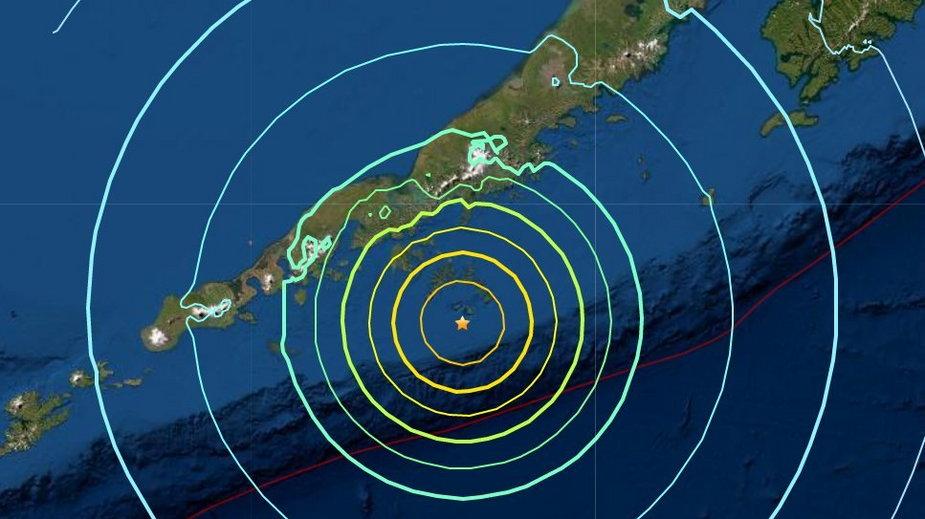 Miejsce zagrożone nadejściem fali tsunami na Wyspach Aleuckich