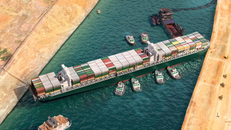 Ever Given zaklinowany w Kanale Sueskim