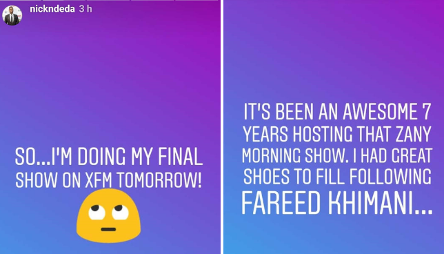 Nick Ndeda leaves X FM after 7  years (Instagram)