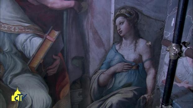 Alegoria Przyjaźni w Sali Konstantyna (zrzut ekranu z filmu Watykańskiego Ośrodka Telewizyjnego / YouTube )