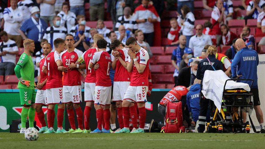 Reprezentacja Danii podczas meczu z Finlandią