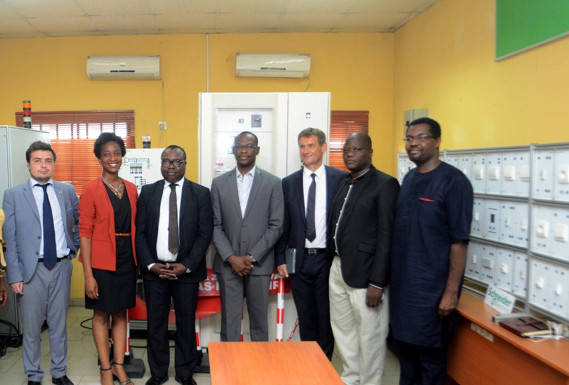 Left to right: Barthelemy Blanc, Regional Economic Department, French Embassy; Viviane Mike-Eze, Marketing Communication Manager, Schneider Electric; Ademola Adesoji, Senior Project Manager, French Development Agency; Kunle Oyenusi, Senior Legal Counsel, NAPTIN; Christophe Begat, Managing Director, Anglophone West Africa, Schneider Electric; Engr. Ayoola, Ijora Center Manager, NAPTIN; Joseph Inyang, CTO, (Schneider)