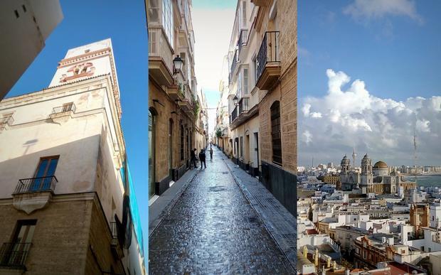 Torre Tavira, uliczki Kadyksu i widok na katedrę