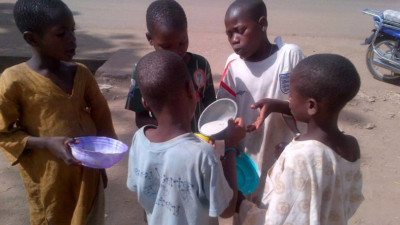 Almajiri children sharing food. Photo: Pulse.ng