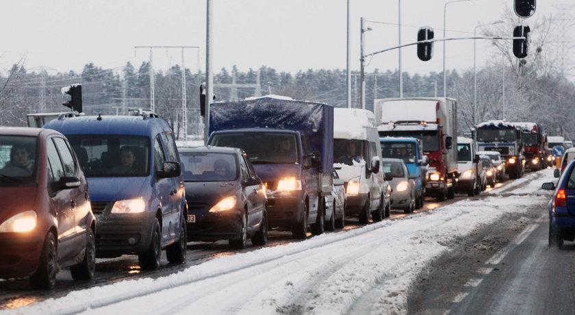 Korek w Gdańsku zimą