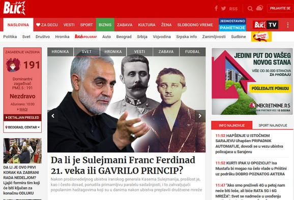 Vidžet se na nalazi u gornjem levom uglu naslovne strane Blica