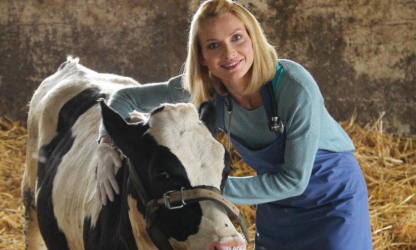 Joanna Moro na planie serialu Blondynka